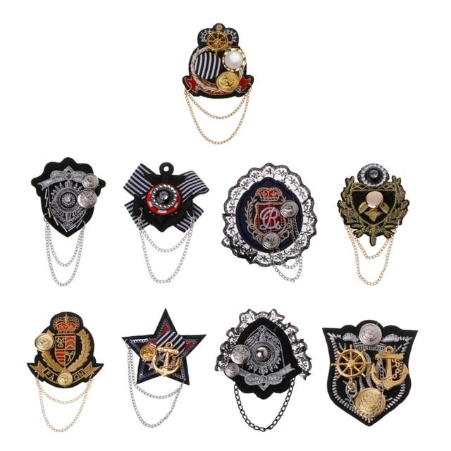 Колледж значок брошь Якорь Ткань Вышитые погон медаль военный костюм контакты