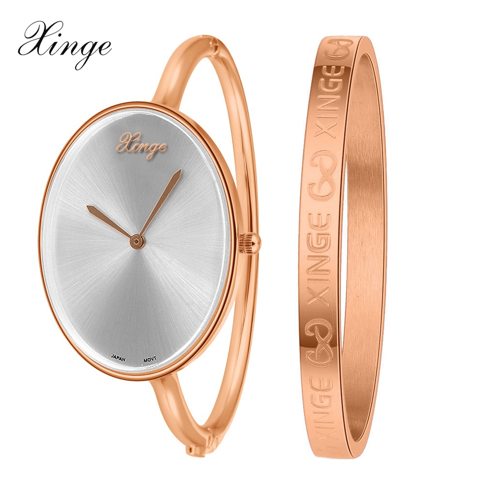 Xinge Brand Fashion Watches Women Rose Gold Silver Waterproof Watches Bracelet Wristwatch Set Female Women Clock Quartz Watch xinge watch women brand rose gold white women japan movt big watches bracelet wristwatch set dress women ladies quartz watches