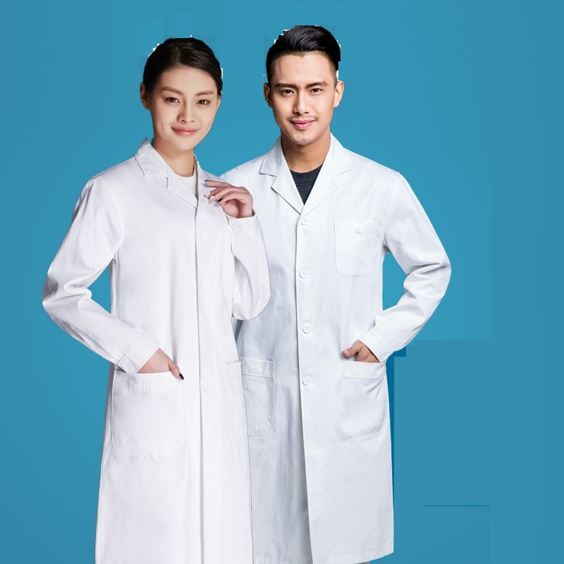 (10 Pcs)Long-sleeved Physician Male And Female Doctor Who Suit White Lab Coat Drugstore Medical Students Uniforms