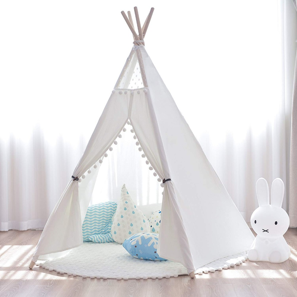 5-Pole Large Boho Pom Pom Childrens Play Indian Teepee Tent Tipi Tent Tepee Wigwam pink clouds teepee tent indoor childrens play tipi