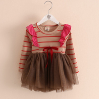 Girl Dress Stripe Bow Spring New Girl Dresses Net Yarn Long Sleeve Kids Wedding Dresses Fashion