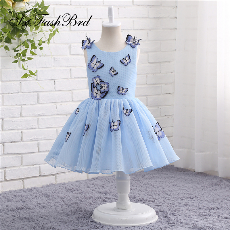 Lovely   Flower     Girl     Dresses   O Neck A Line With Bows Tulle   Girl   Pageant Party   Dress   Robe Mariage Fille   Dress