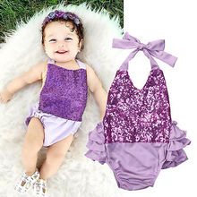 Fashion Toddler Newborn Infant Baby Girls Purple Sequins Bodysuit Sleeveless Jumpsuit Sunsuit Clothes 0-24M