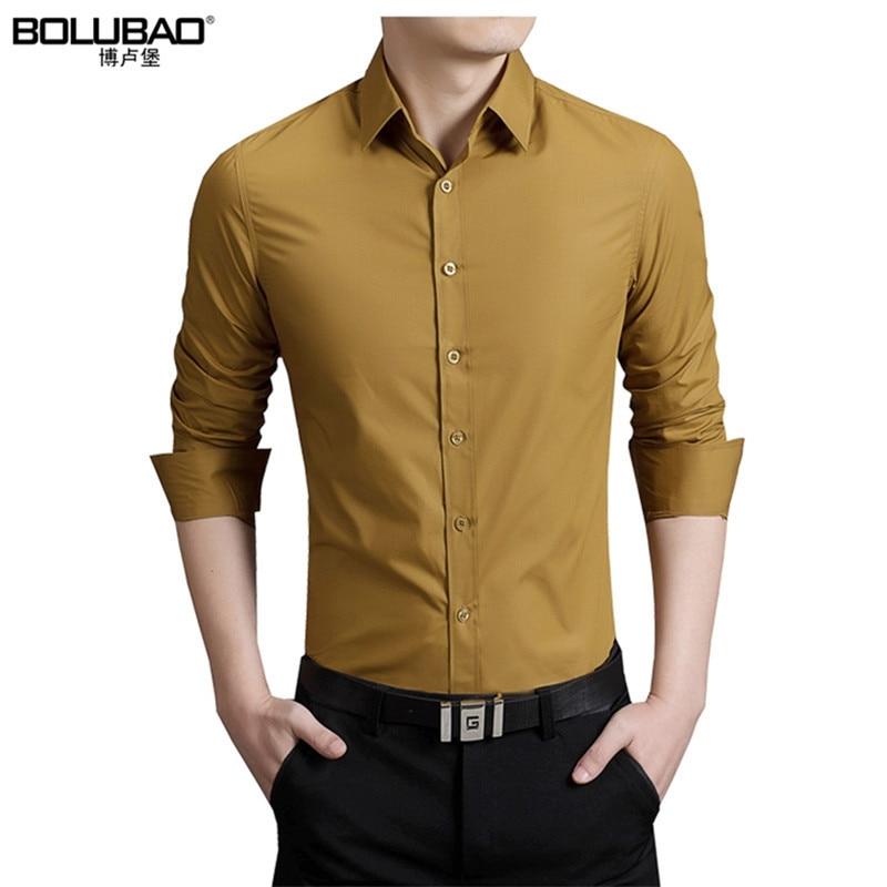 Bolubao Novos Homens Camisa Ocasional Roupas de Marca de Algodão Smoking Mens Vestido de Camisa de Manga Comprida Magro Masculino Camisas de Negócios M-5XL
