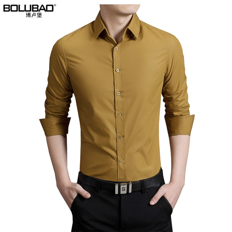 Bolubao New Men ყოველდღიური პერანგის ბრენდის ტანსაცმელი ბამბა Tuxedo მამაკაცის კაბა პერანგი გრძელი ყდის თხელი მამაკაცის ბიზნეს პერანგები M-5XL