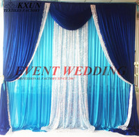 Turquoise Color Ice Silk Wedding Backdrop Curtain With Royal Blue And Silver Sequin Swag Drape Event Decoration