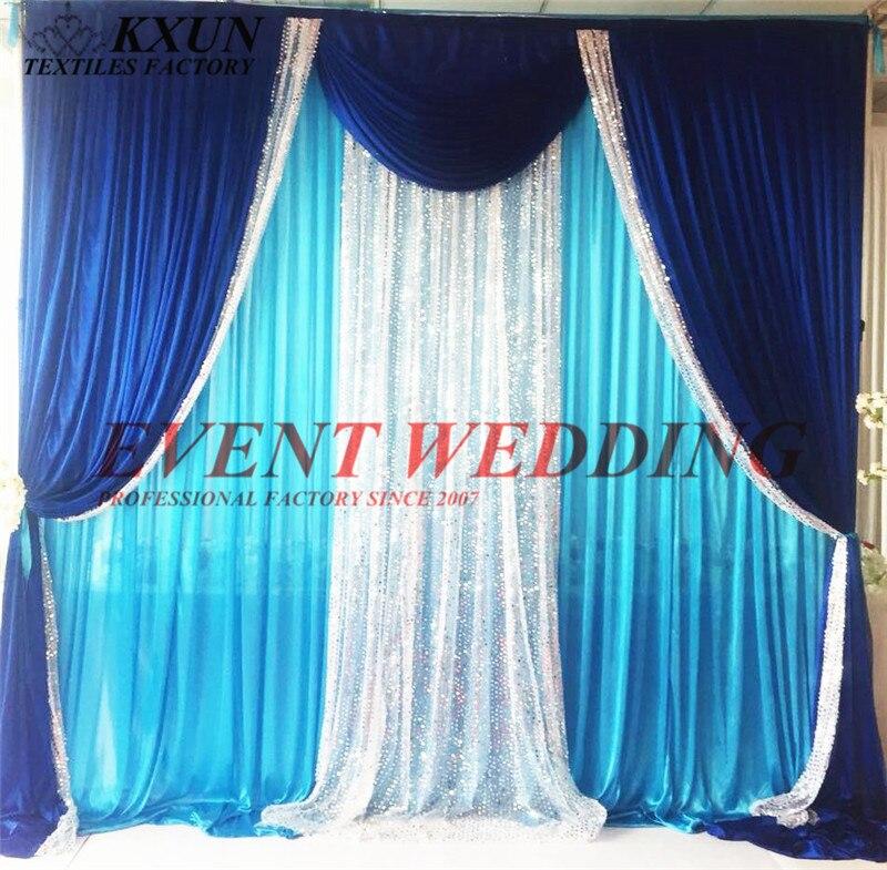 Turquoise couleur glace soie mariage toile de fond rideau avec bleu Royal et argent Sequin Swag drapé événement décoration