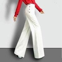 2017 en najaar Mode casual plus size hoge taille vrouwelijke vrouwen meisjes rechte wijde pijpen broek broek kleding