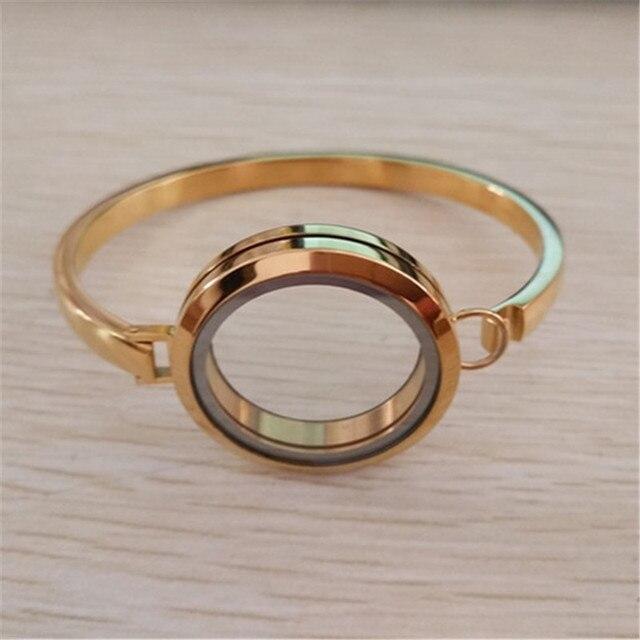 7inch 8inch Gold Locket Bracelet Bangle 30mm 316l Stainless Steel Plain Gl Floating