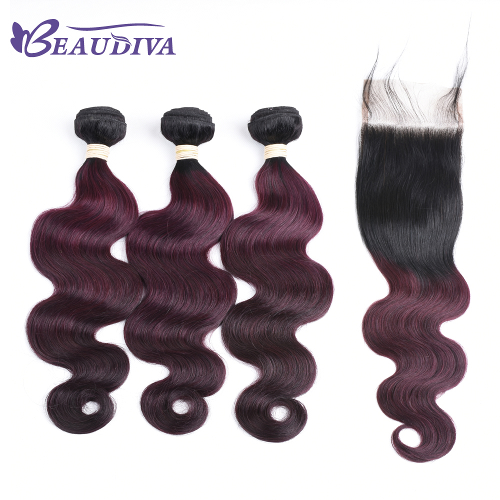BEAUDIVA Pre-Colored Body Wave  Human Hair  With Lace Closure 4*4 TB/99J Ombre Color Brazilian Hair Bundles Extensions