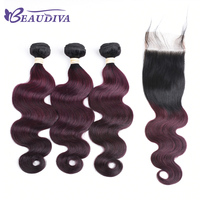 BEAUDIVA Pre Colored Body Wave Remy Human Hair With Lace Closure 4 4 TB 99J Ombre
