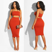 Fashion Red Ladies 2 Two Pieces Set Slim Knitted Clothing Femme Sets Strapless + Midi Skirts Sweater sexy Women Suit Party Club