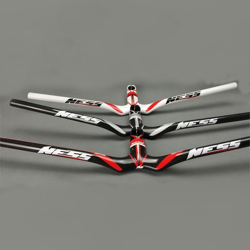 цена на NESS Carbon Fiber Bike Mountain Integrated Riser Handlebar Bicycle Horizontal MTB Handlebar Stem Parts