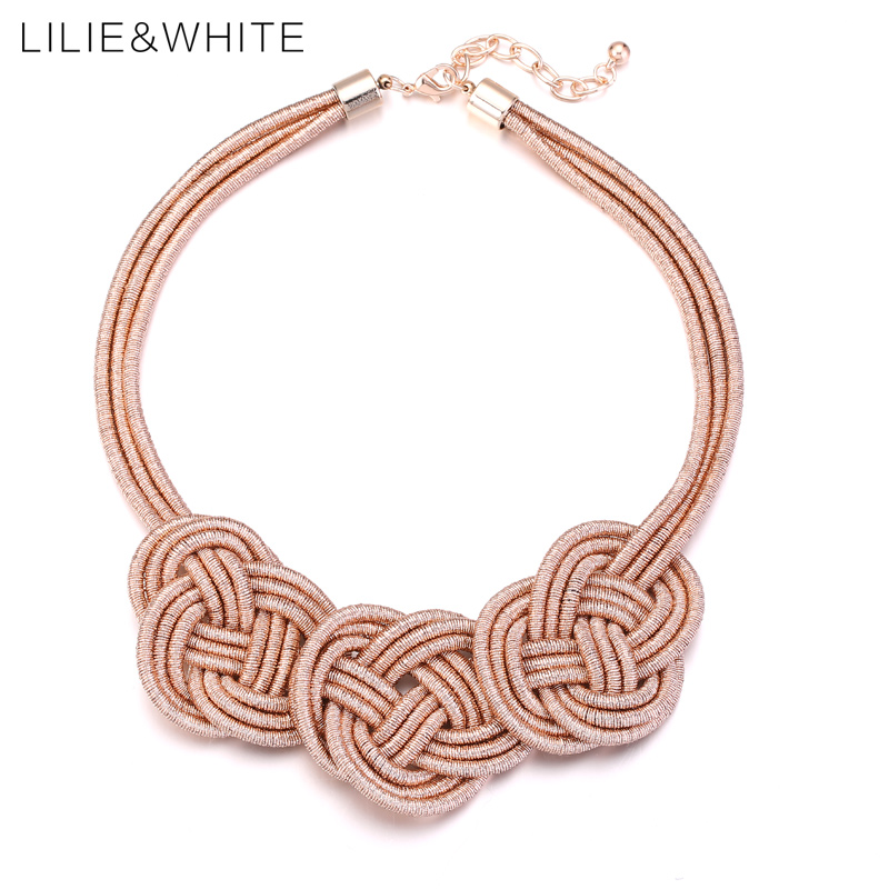 LILIE&WHITE Auspicious Clouds Knot Collar Bib Statement Necklace For Girls Ethnic Style Rope Necklace For Women Jewelry HL nylon rope alloy statement necklace set