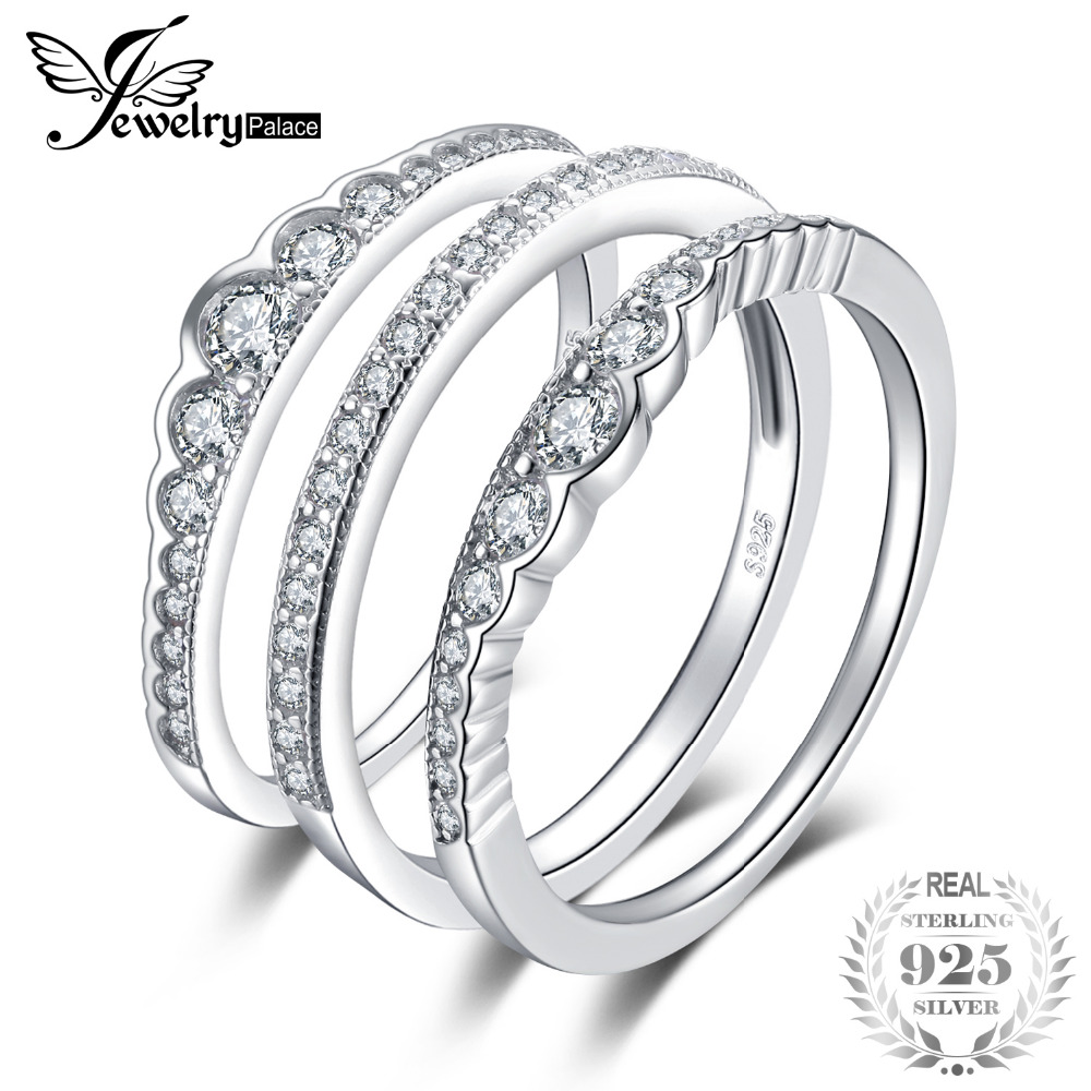 JewelryPalace 925 Sterling Silver Rings 3 Pcs Stackable Wedding Band Anniversary Gift Engagement Ring Sets Bridal Jewelry Women