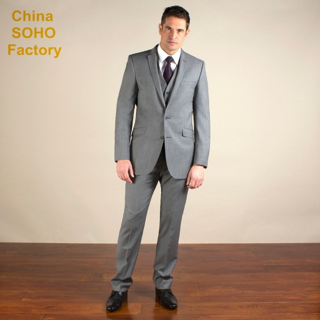 Silver grey semi plain slim fit 2 button jacket fitted mens suits ...
