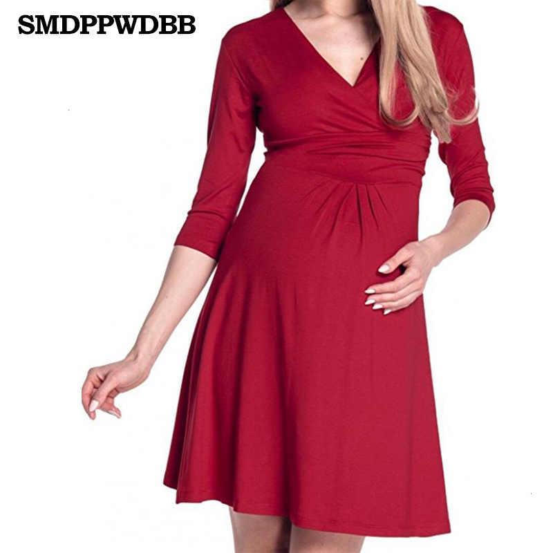 d2b1b209c6128 ... Christmas Pregnant Women Evening Party Dress Elegant Summer Lady  Vestidos Maternity Clothes Plus Size V- ...