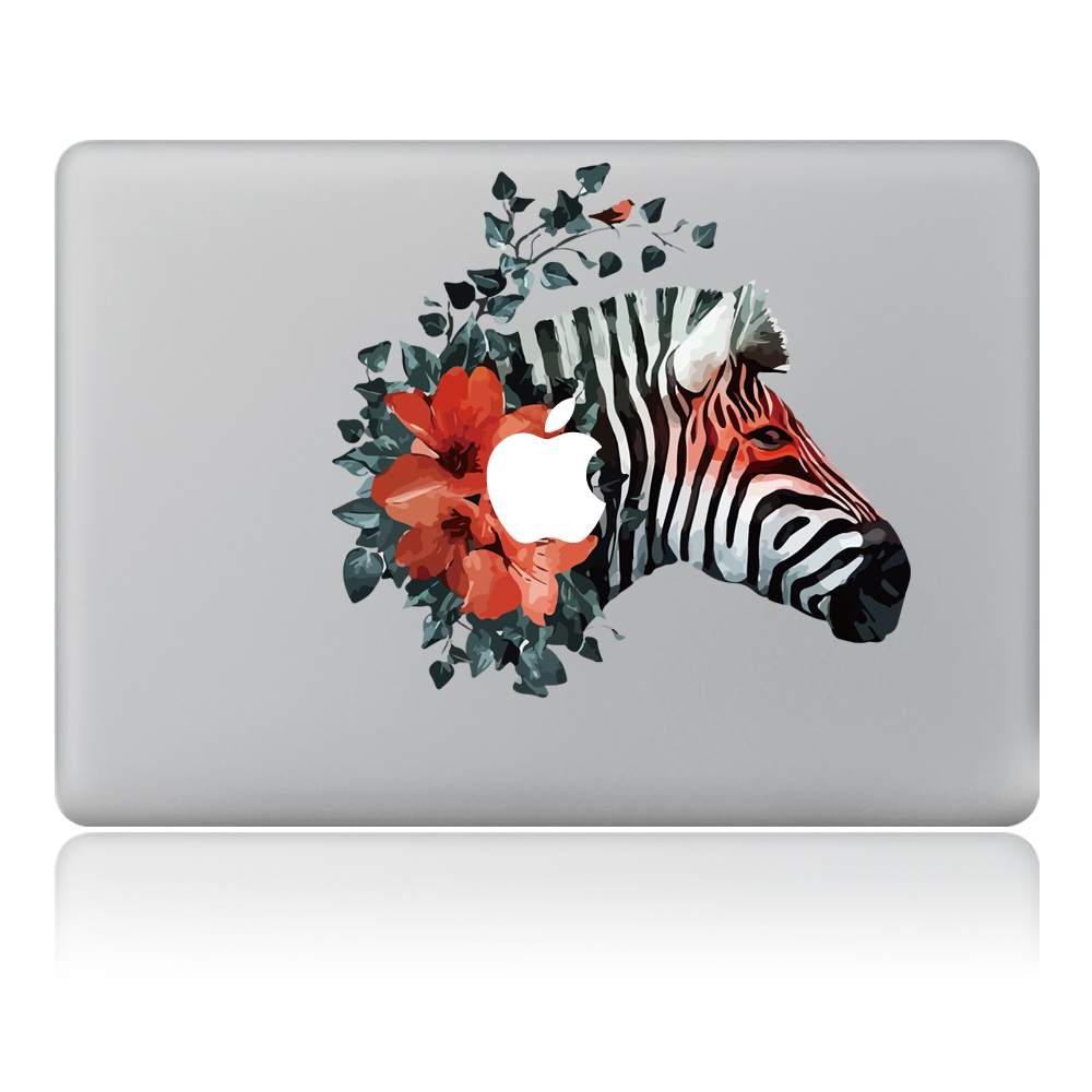 Flower butterflies fluttering zebra Vulture style Vinyl Decal Laptop Sticker For DIY Macbook Pro Air 11 13 15 inch Laptop Skin