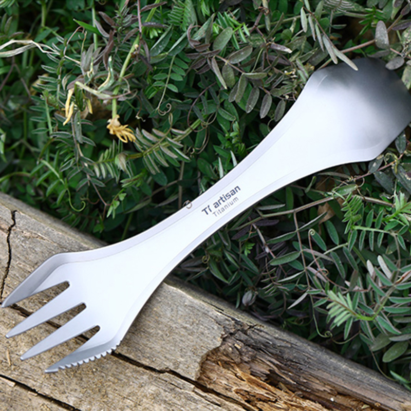 Tiartisan Titanium Spoon Fork Outdoor Camping Pure Titanium 3 in 1 Spork Set Lightweight Camping Picnic Tableware Ta8101
