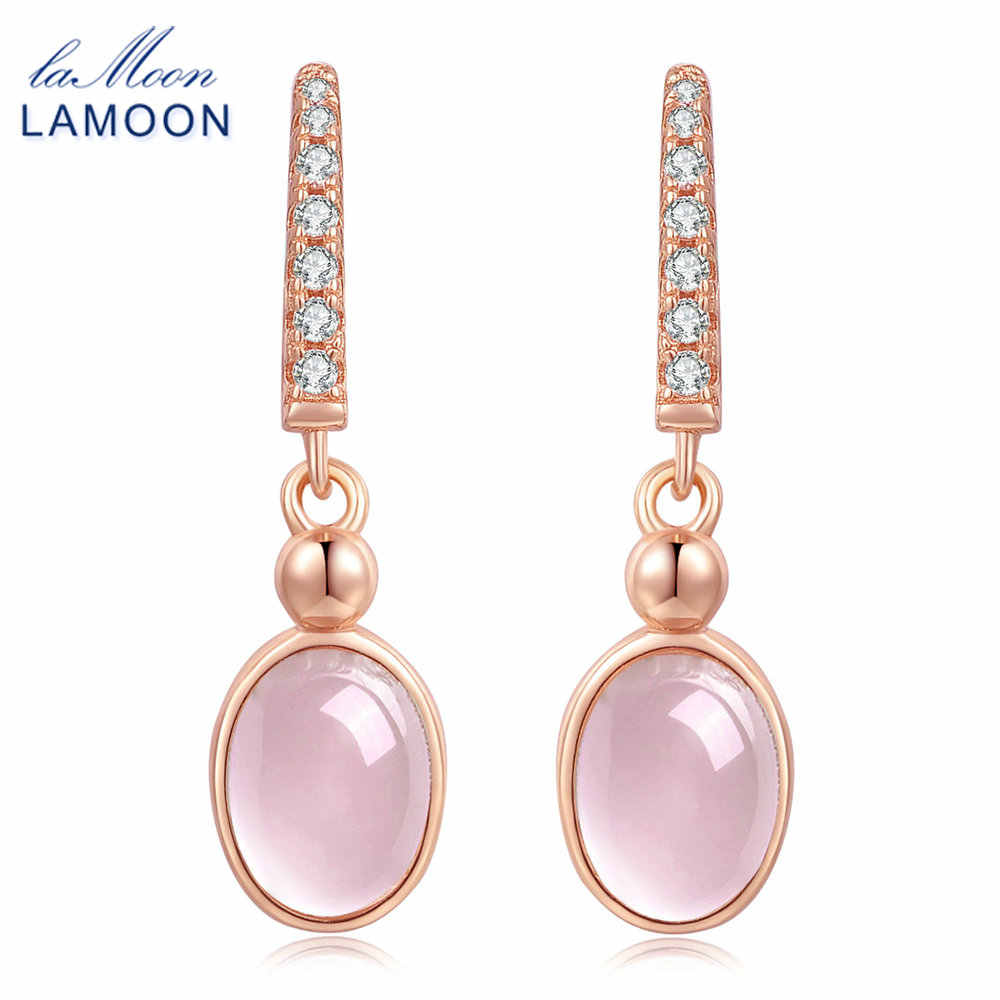 LAMOON 5x7mm 100% Natural Oval Egg Pink Rose Quartz 925 Sterling Silver Jewelry  Drop Earrings S925 LMEI006