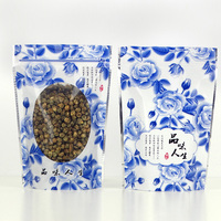 500Pcs/Lot Blue Flowers Stand Up Bags Ziplock Clear Packing Bag With Window Self Seal Plastic Food Grip Bags Retail Pack Bags