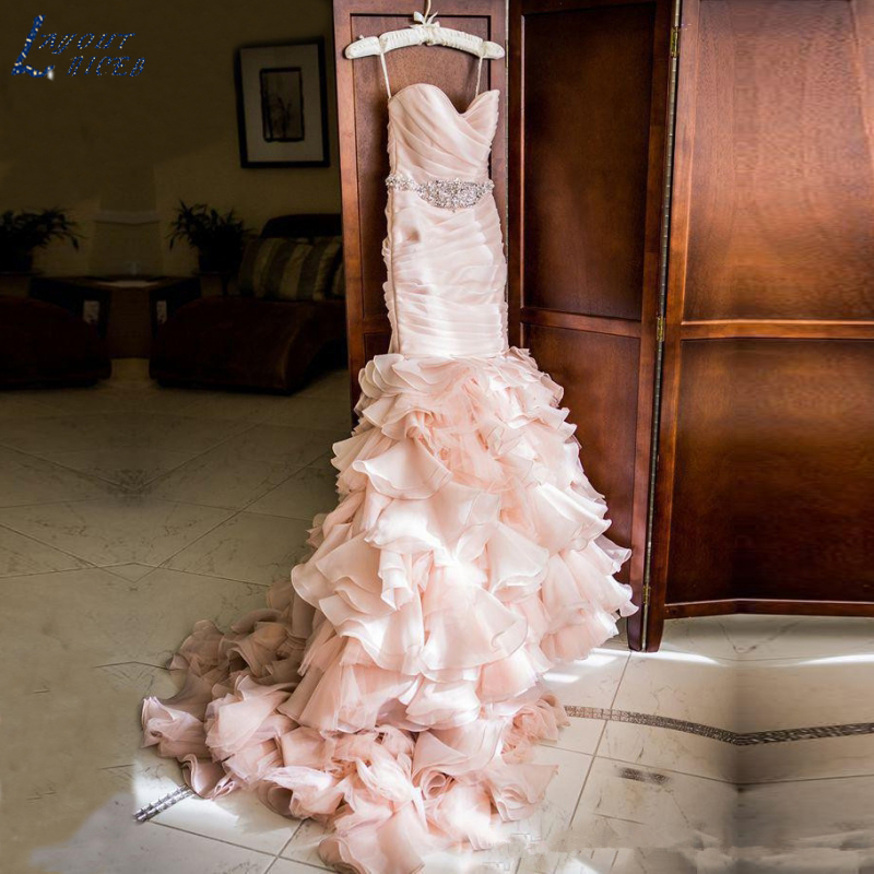 WD0911 Pink 2018 Wedding Dress Organza Mermaid Bridal Gowns Custom Made Beaded Crystal Ruffles Sweep Train