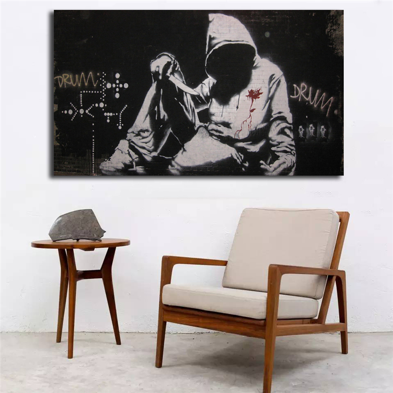 Banksy Hoodie With Knife Graffiti Wallpaper Wall Art Canvas Posters Prints Painting Pictures For Office Bedroom Home Decor