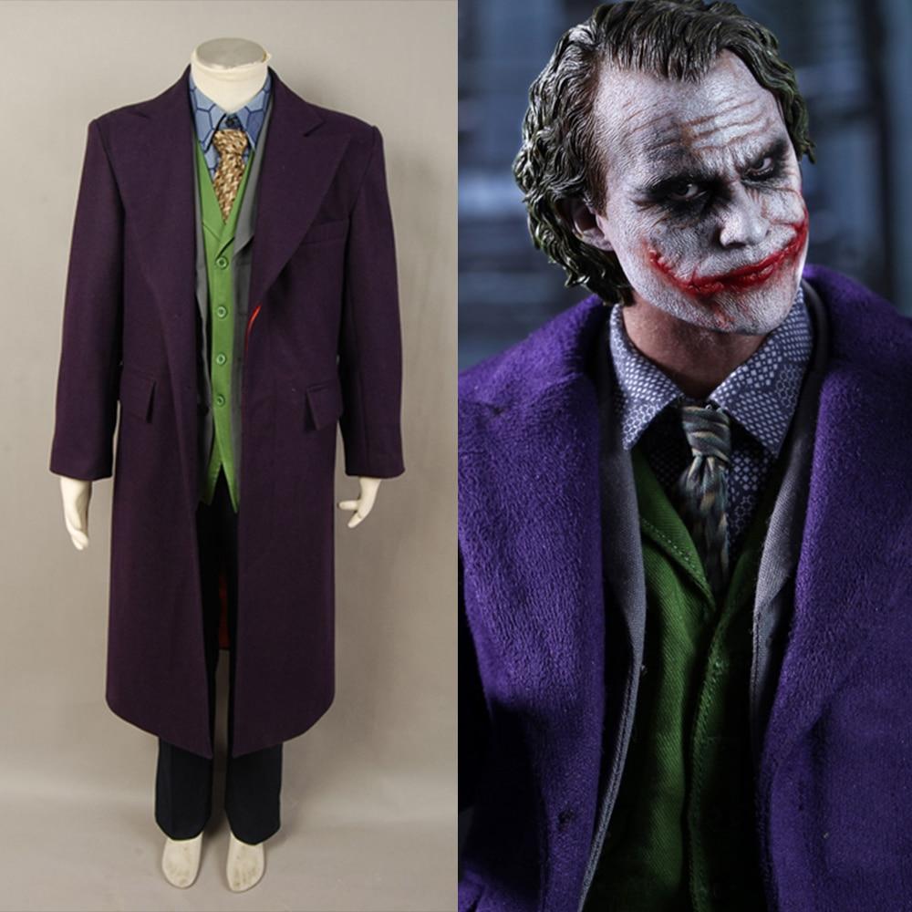 Us 189 0 5pcs Adult Men Batman Dark Knight Joker Costume Heath Ledger Joker Cosplay Costume Trench Coat Shirt Vest Pants Tie No Blazer In Movie