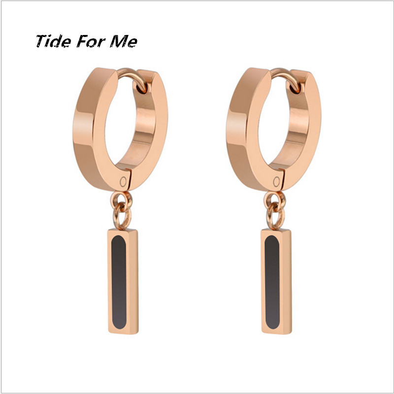 New Punk Rose Gold Color Round Stainless Steel Tassel Bar Stud Earring for Women & Men Helix Ear Piercings Fashion Jewelry Gifts