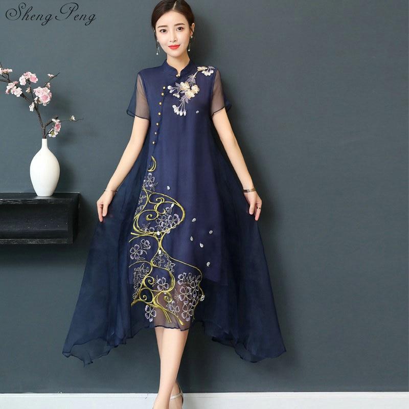 New Qipao Long Cheongsams Dress Chinese Traditional Dress Plus Size Summer Flowers Vintage Dress Oriental Robes