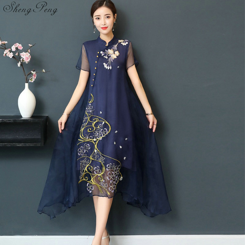 New Qipao Long Cheongsams Dress Chinese Traditional Dress Plus Size Summer Flowers Vintage Dress Oriental Robes V922