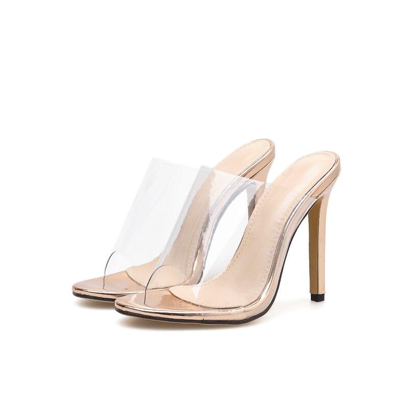 Pvc Mujeres Moda Zapatos Cm Mujer Fiesta Tacones Verano Champagne Alto 11 Transparente Altas Tacón Las De Sandalias 2019 X61xZqYv