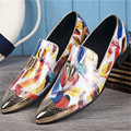 Metal Pointed Toe Slip On Men Loafers Print British Style Flats Wedding Dress Shoes Autumn Spring Men Oxford Shoes Espadrilles