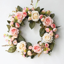 Artificial garland Artificial Peony Flower Wreath Door Wedding Hanging Wall Window Decoration Pendant Decoration цена и фото