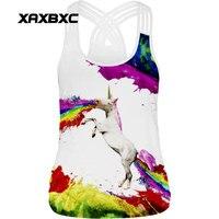 XAXBXC 016 Summer Sexy Girl Tank Tops Rainbow Unicorn Horse Prints Rope Elastic Slim Fitness Women