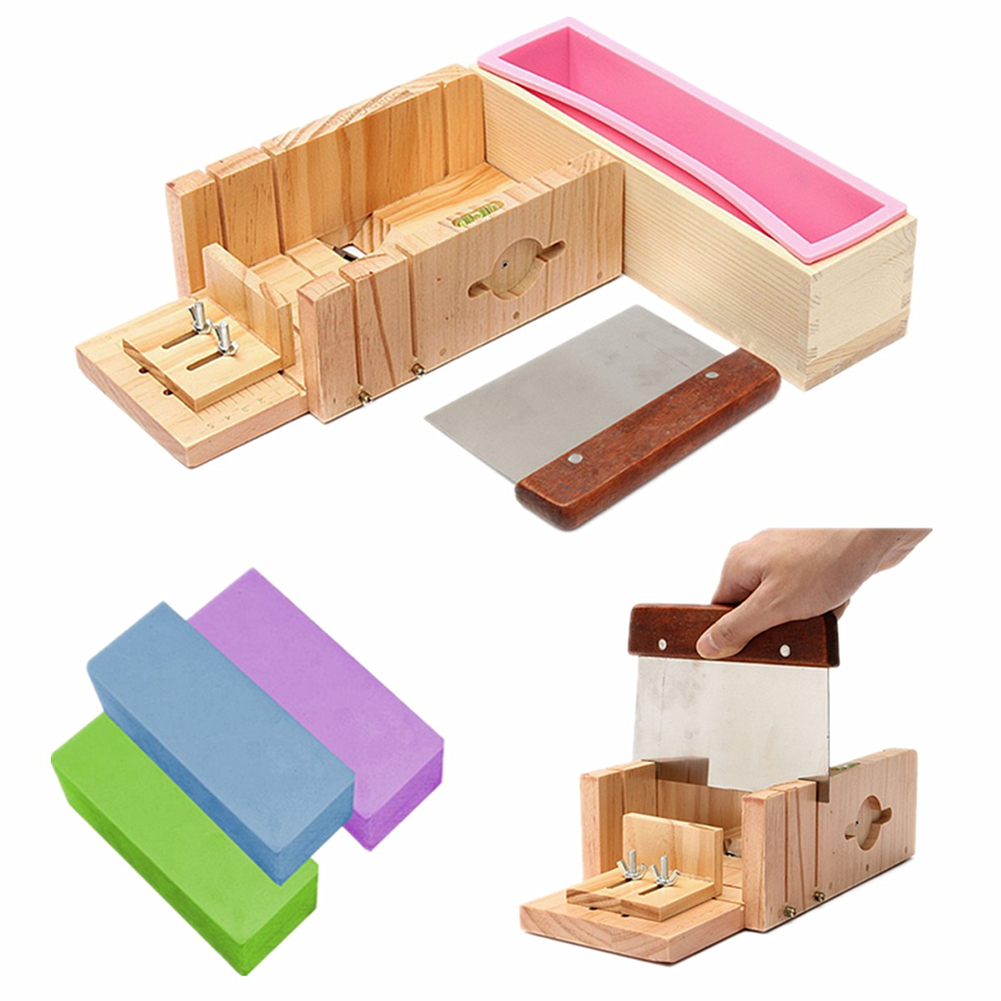 Silicone Soap Molds With Wooden Box Homemade Loaf Soap Maker Slicer Cutter Square Shape Cake Molds Silicone Molds For Soap 1pc
