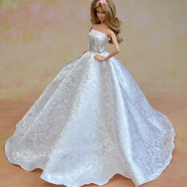 Online shop high quality pure white formal wedding dress for barbie high quality pure white formal wedding dress for barbie dolls party dress hat lace vestido gown clothes for 16 dolls clothing junglespirit Image collections