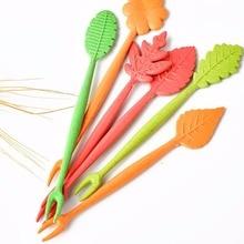 Home Party Cake Salad Vegetable Forks Picks Table Decor Tools Biodegradable Natural Wheat Straw Leaves Fruit Fork Set D1