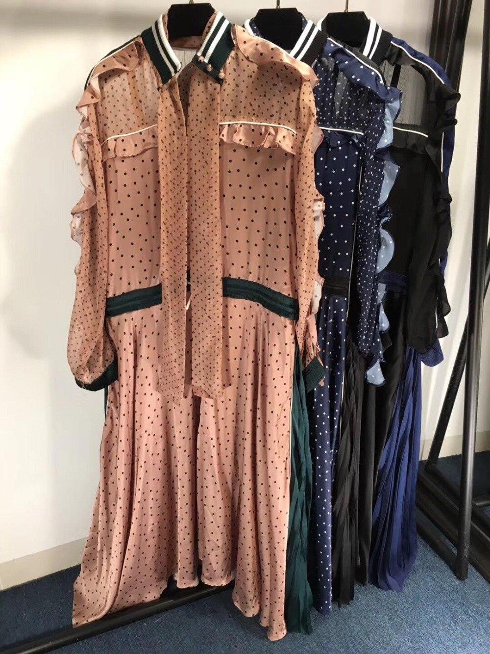 2019 nouvelles dames mode couleur unie à manches longues lotus feuille collier blanc ceinture longue robe 0330