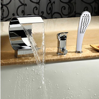 Chrome Finished 3pcs Waterfall Sput Bathroom Bath Tub Faucet Mixer Tap Set W Valve Hand Shower