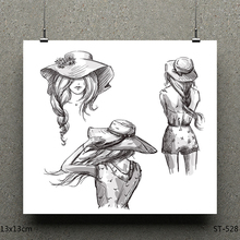 AZSG Beautiful woman Clear Stamps/seal for DIY Scrapbooking/Card Making/Photo Album Decoration Supplies