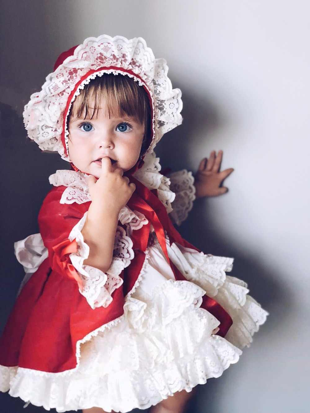 Spanish Girls Check Dress Princess Toddler Christmas Party Autumn With Headwear