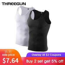 3d25027fed6e33 THREEGUN 2pcs pack Solid Seamless Undershirts O-Neck Basic Men Bodybuilding  Sleeveless Tank Vest