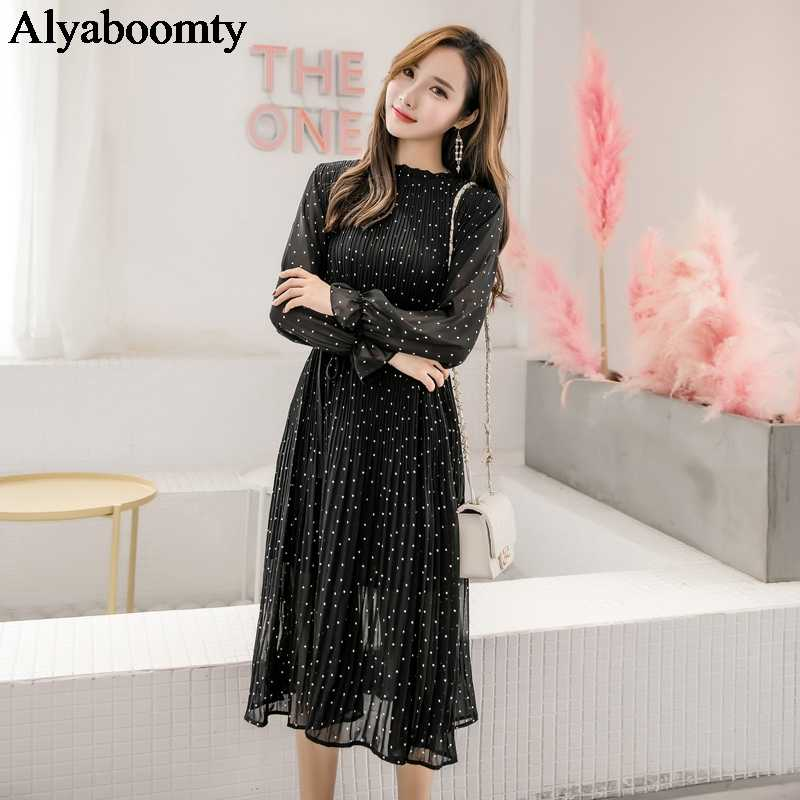 2019 Весна Лето Женское корейское шикарное длинное платье в черный горошек нежная женская одежда элегантные шифоновые плиссированные милые миди платья
