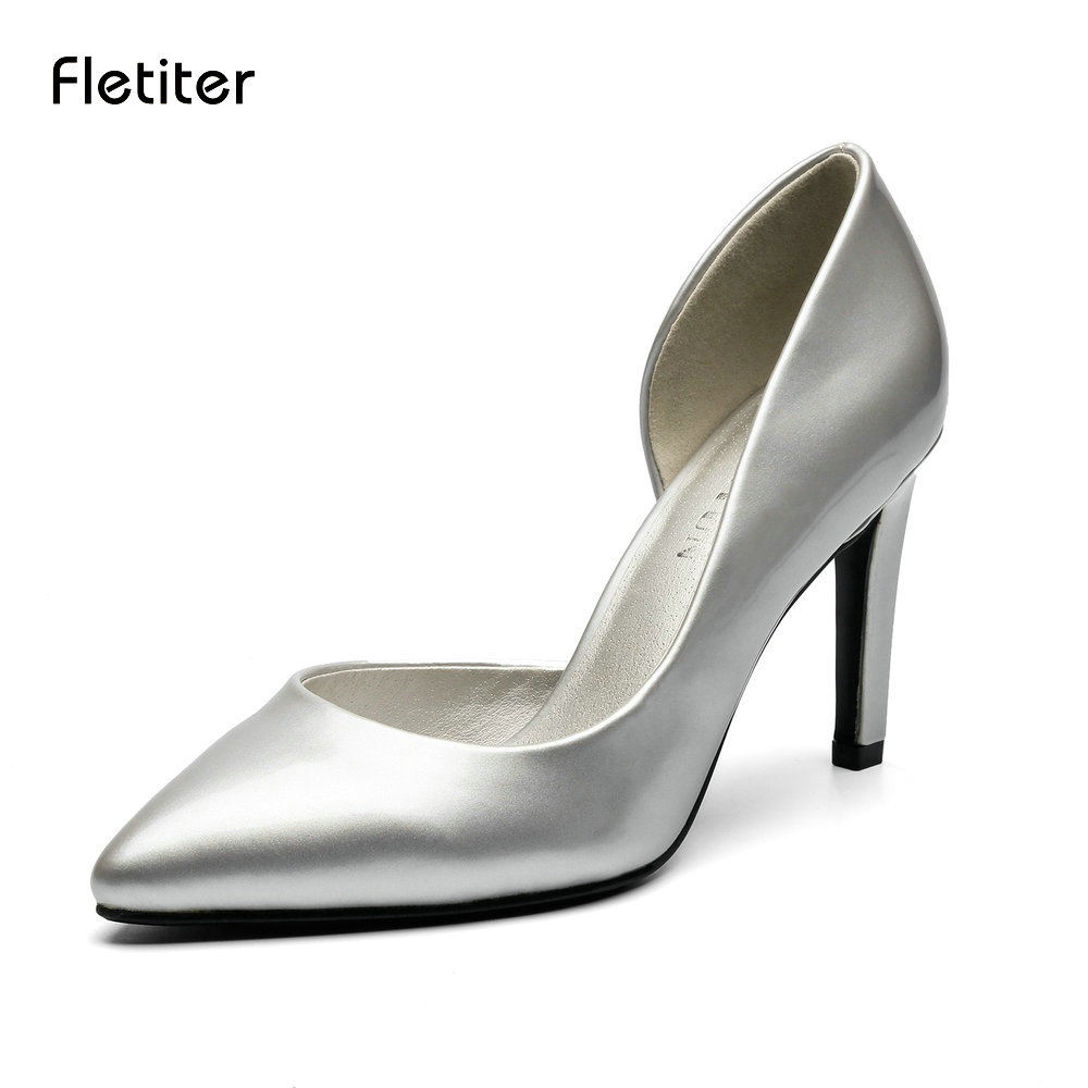 Fletiter Women Pumps 2018 D'Orsay 9cm High Heels Shoes Womens Sexy Pointed Toe Slip-on Wedding Party Shoes For Lady Size 41 2017 shoes women med heels tassel slip on women pumps solid round toe high quality loafers preppy style lady casual shoes 17