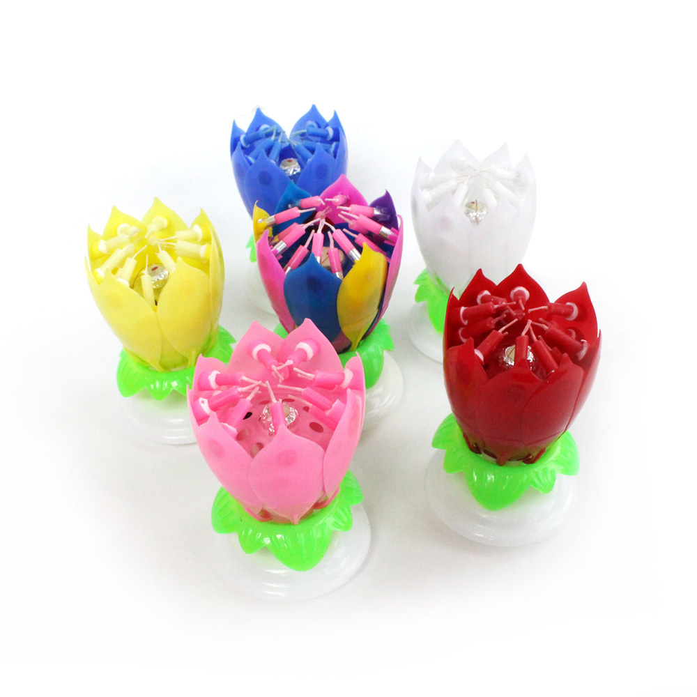 Amazing Romatic Musical Spinning Lotus Flower Happy Birthday Candle