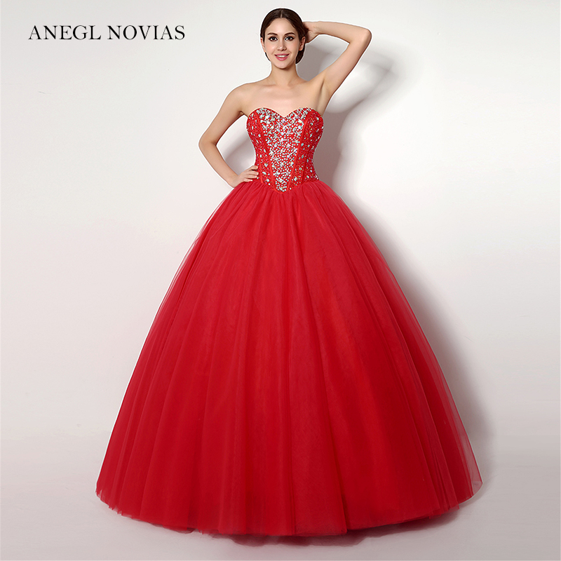Angel Novias Long Elegant Red Ball Gown Prom Dress 2018 with Glitter ...