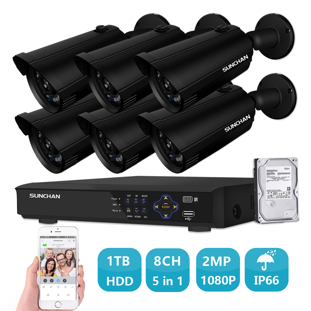 SUNCHAN AHD 8CH CCTV System 1080P HDMI DVR 2.0MP 6PCS Outdoor Weatherproof CCTV Camera Home Security System Surveillance Kit 1TB