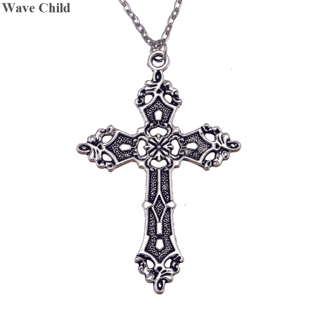 New mens large gorgeous silver cross chain necklace madonna gothic new mens large gorgeous silver cross chain necklace madonna gothic halloween diy cross pendant necklace jewelry aloadofball Choice Image
