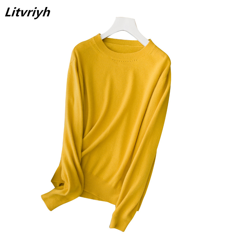 Litvriyh fine cashmere sweater women sweaters and pullovers long sleeve round neck soft female pullover women knitted clothing